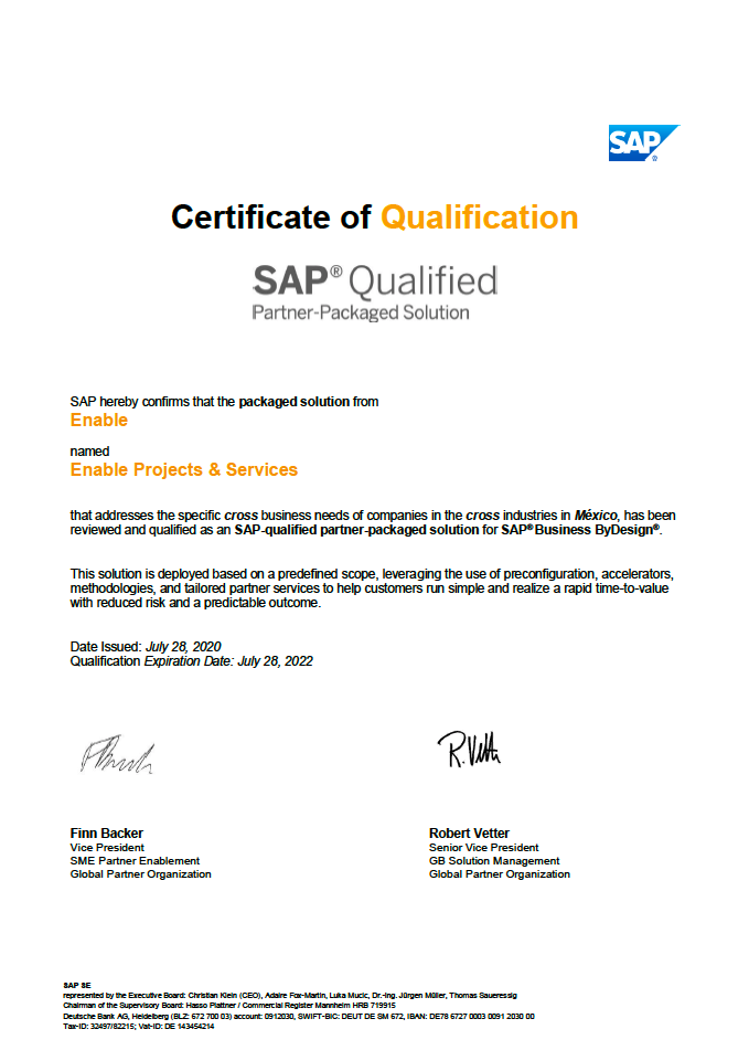 Certificate Enable Projects and services