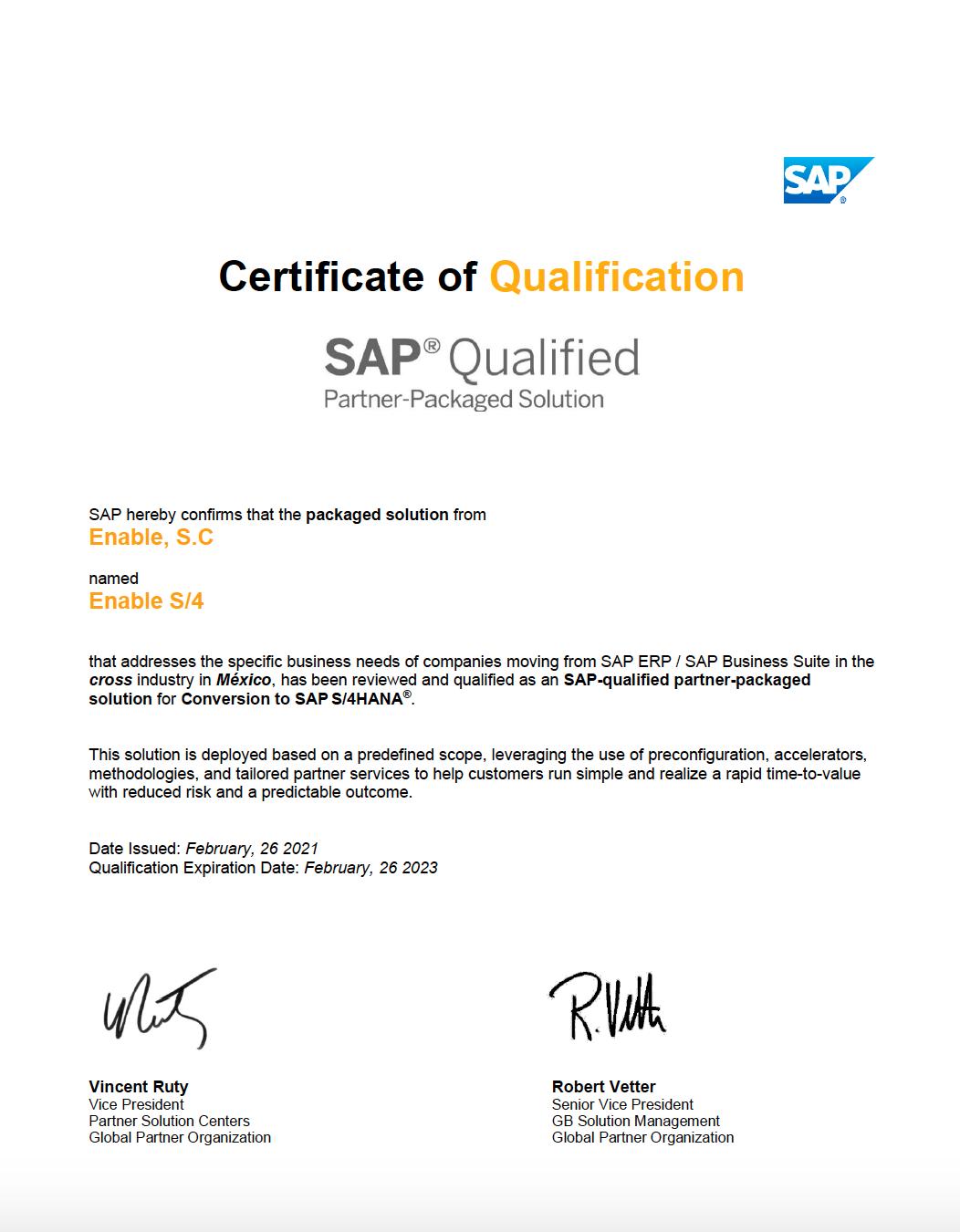 certificate S4